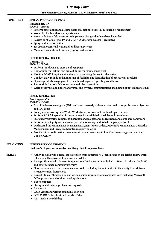 Field Operator Resume Samples Velvet Jobs