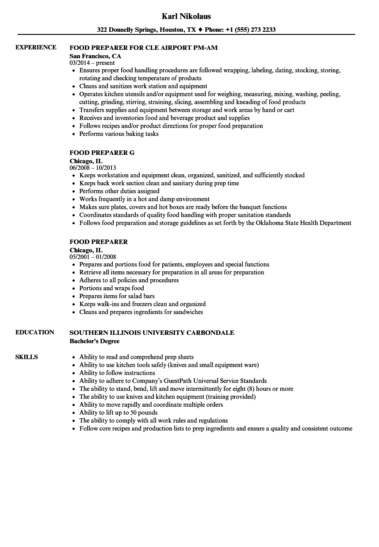 Food Preparer Resume Samples Velvet Jobs  Tax Preparer Resume