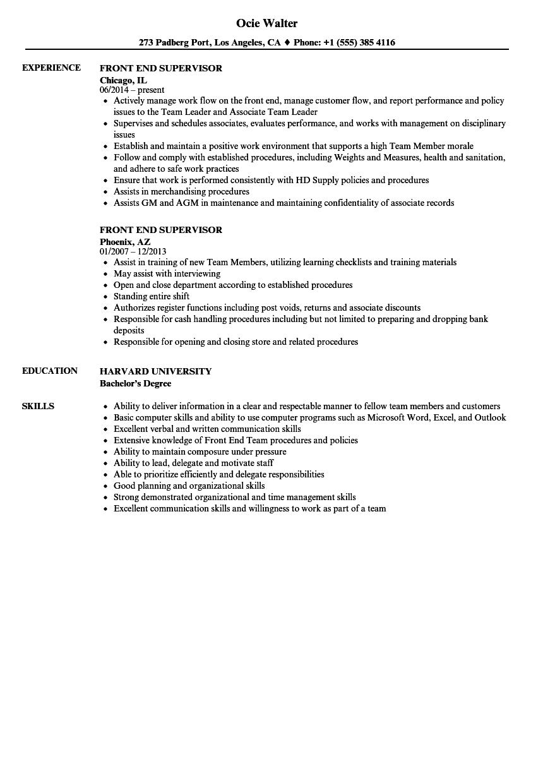 Front End Supervisor Resume Samples Velvet Jobs