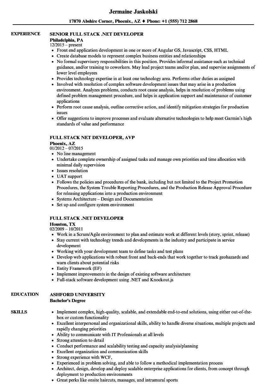 Full Stack Net Developer Resume Samples Velvet Jobs
