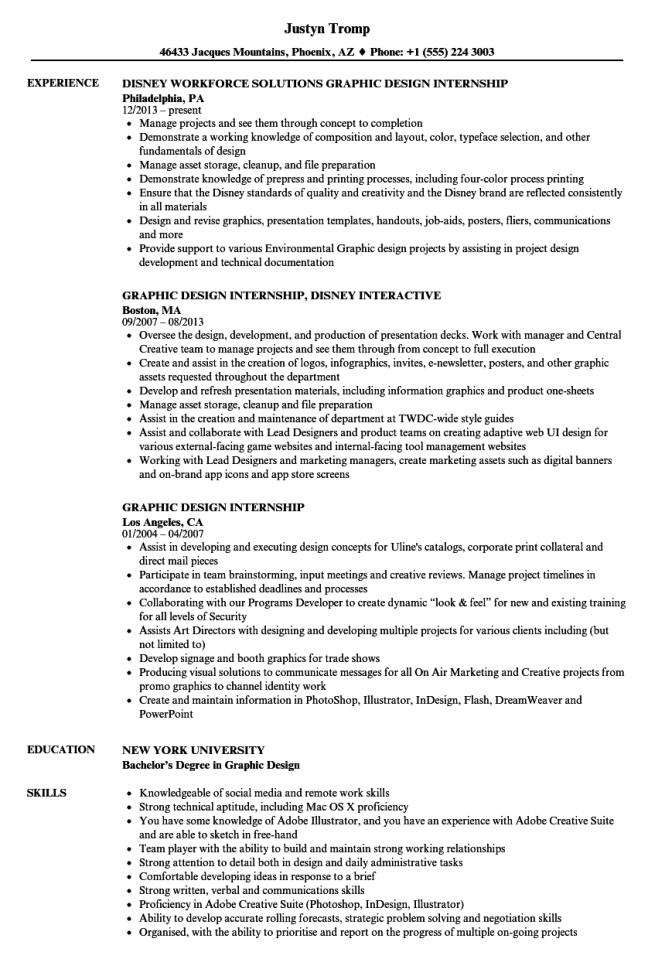 Graphic Design Internship Resume Samples Velvet Jobs
