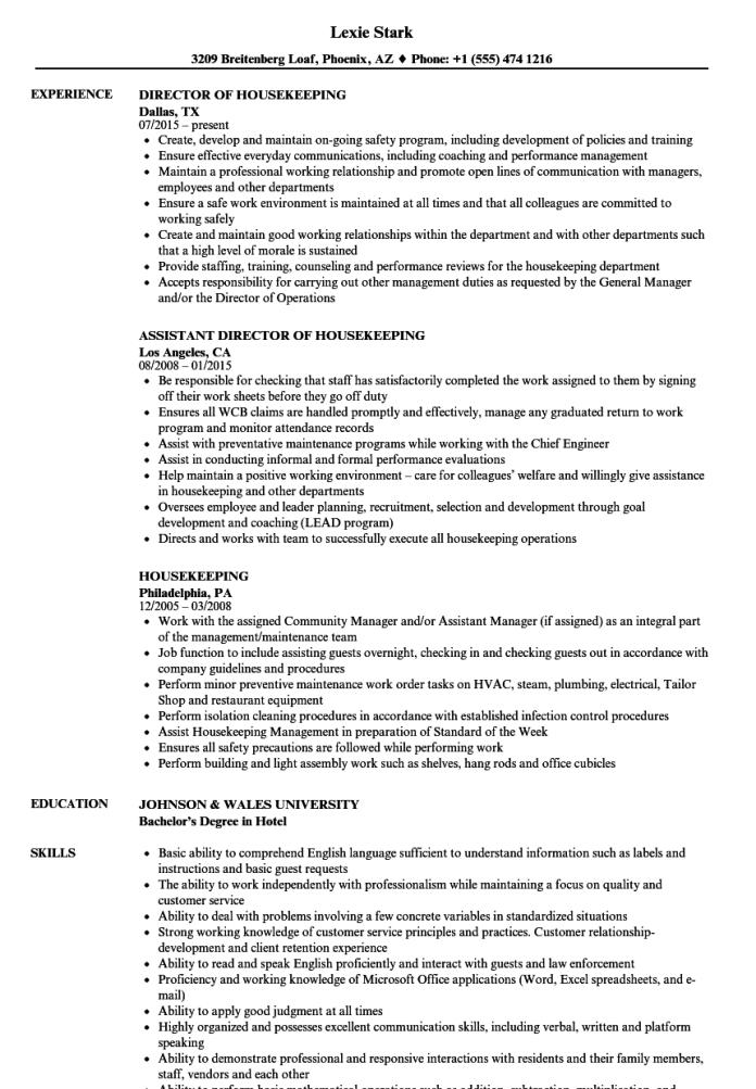 Housekeeping Resume Samples Velvet Jobs
