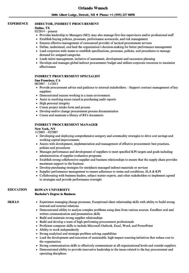 procurement resume sample