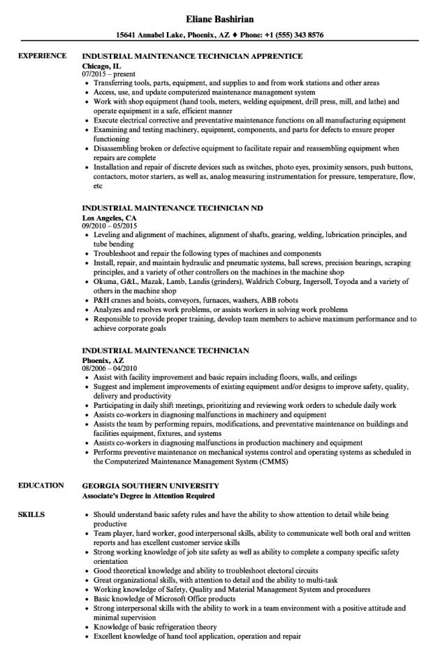 Industrial Maintenance Technician Resume Samples  Velvet Jobs