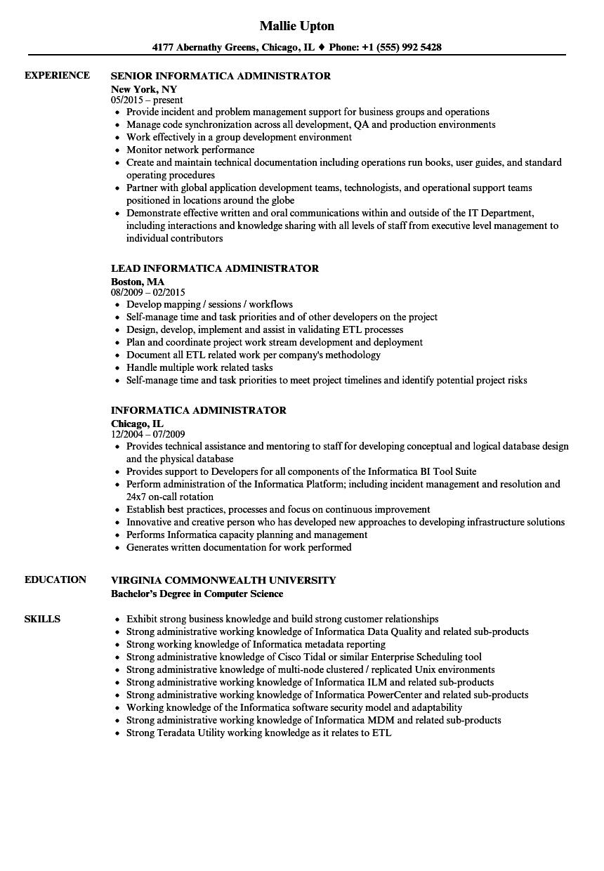 Informatica Administrator Resume Samples Velvet Jobs
