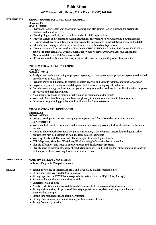 Informatica Etl Developer Resume Samples Velvet Jobs