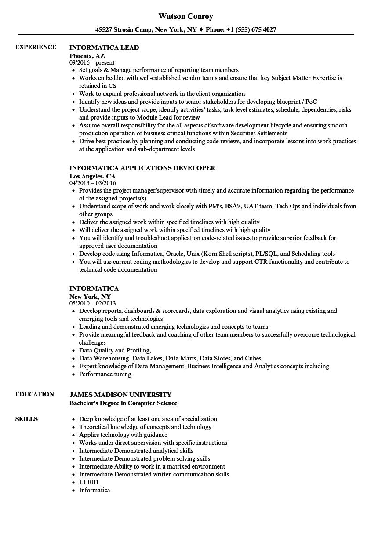 Informatica Resume Samples Velvet Jobs