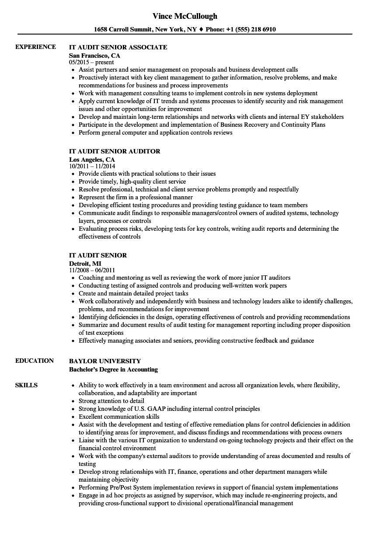 It Audit Senior Resume Samples Velvet Jobs