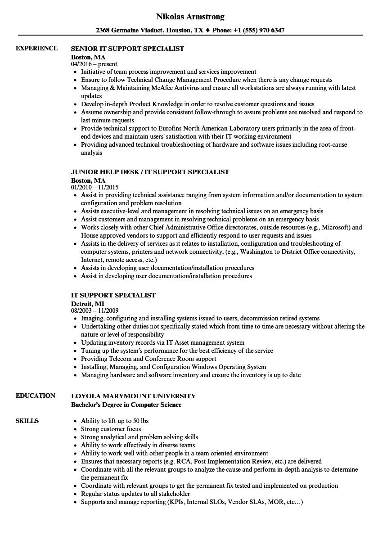 It Support Specialist Resume Samples Velvet Jobs