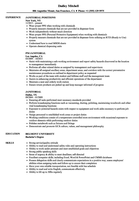 Janitorial Resume Samples Velvet Jobs