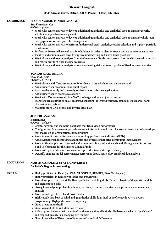 Junior Analyst Resume Samples Velvet Jobs