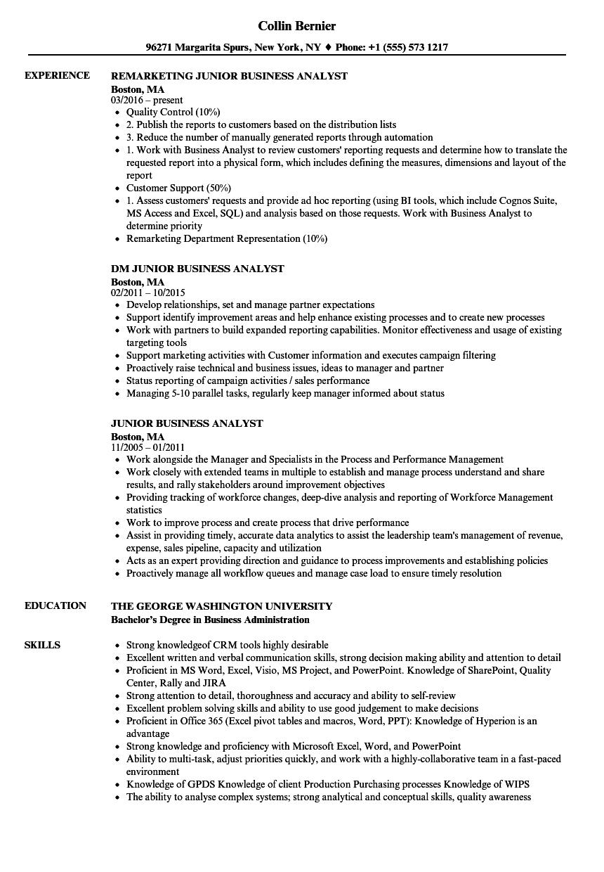 Junior Business Analyst Resume Samples Velvet Jobs