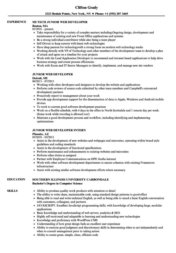 junior web developer resume samples velvet jobs - Web Developer Resume Template