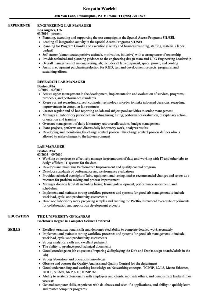 Lab Manager Resume - Resume Sample