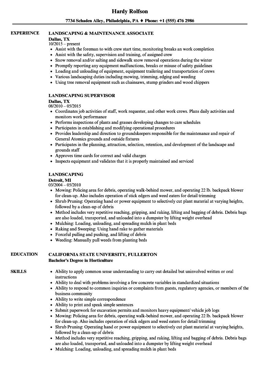 Landscaping Resume Samples Velvet Jobs