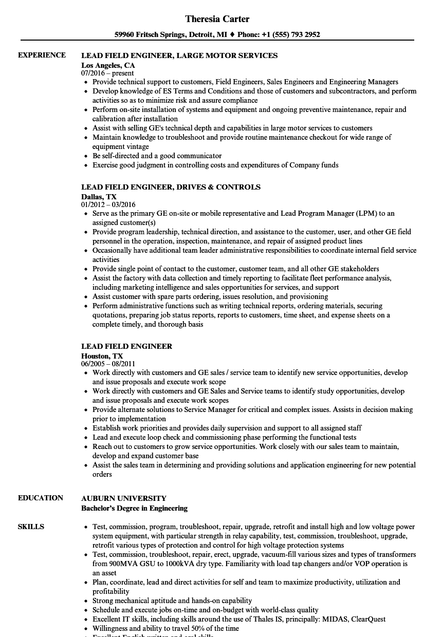 Lead Field Engineer Resume Samples Velvet Jobs