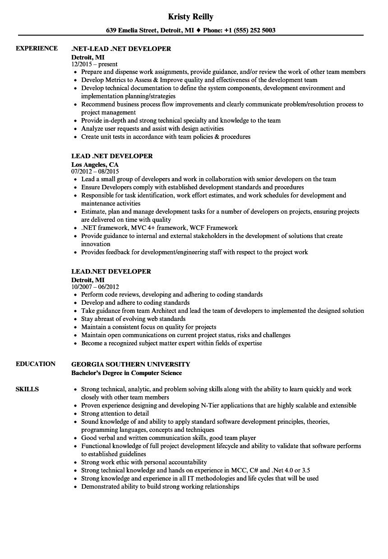 Lead Net Developer Resume Samples Velvet Jobs