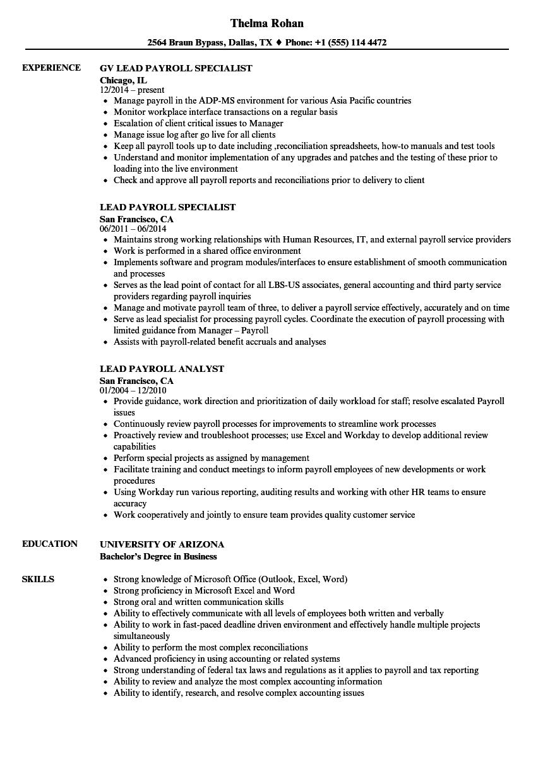 Lead Payroll Resume Samples Velvet Jobs