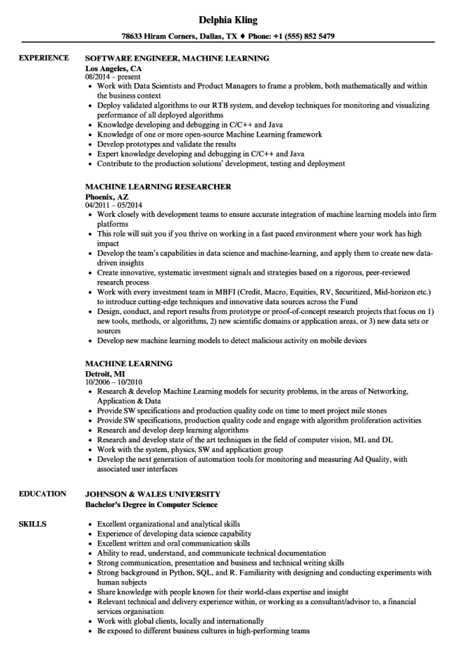 Resume Machine - Resume Sample