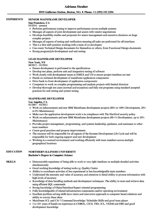 Mainframe Developer Resume Samples Velvet Jobs