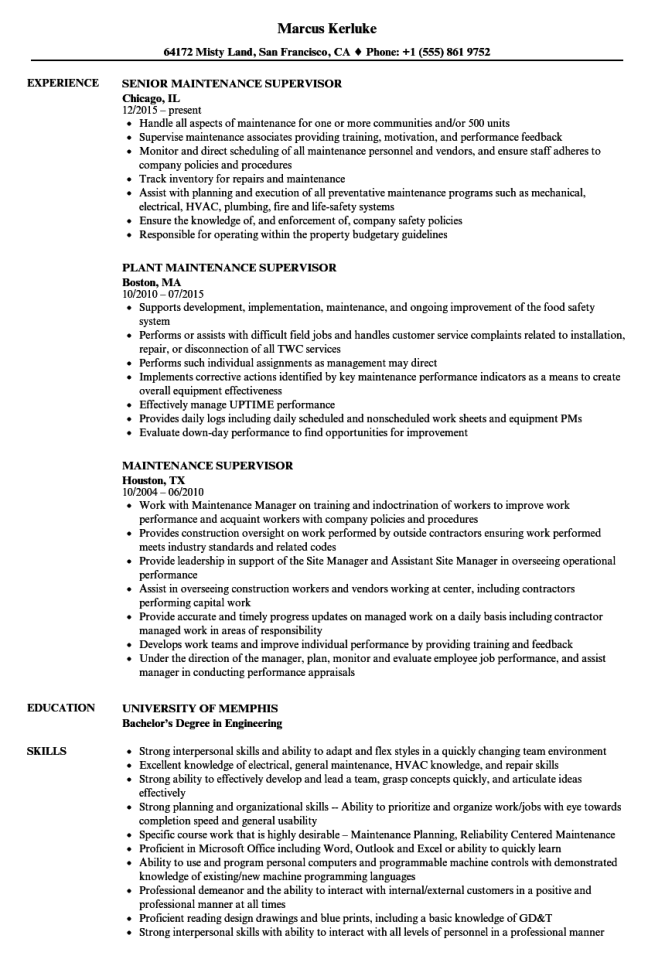 Maintenance Supervisor Resume Samples Velvet Jobs