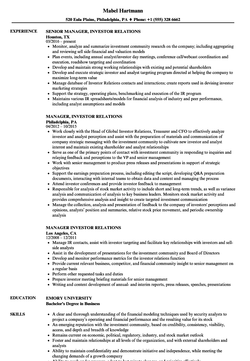 Vp Employee Relations Resume Sample