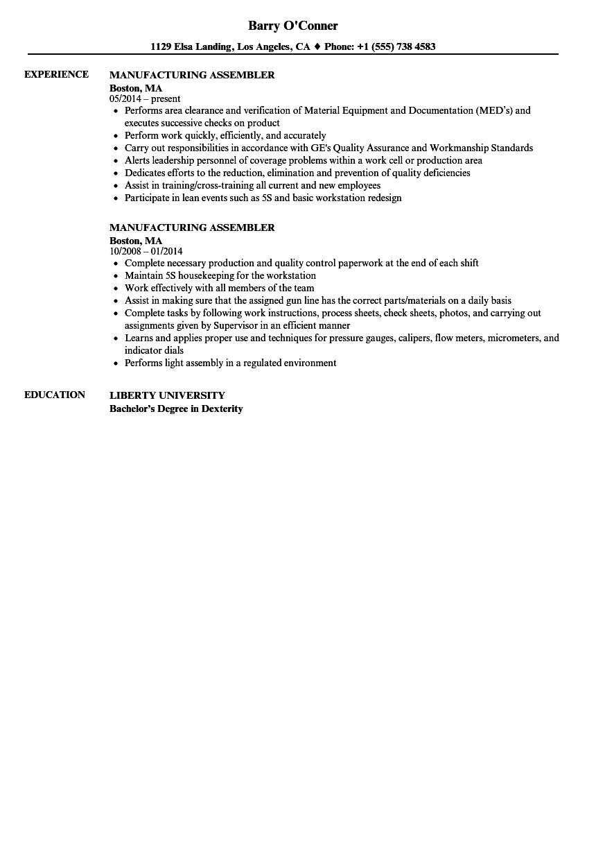 Manufacturing Assembler Resume Samples Velvet Jobs