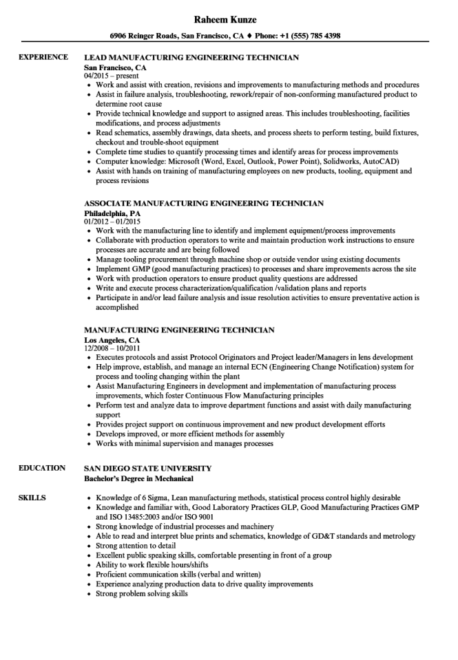 Manufacturing Engineering Technician