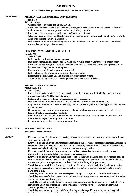 Mechanical Assembler Resume Samples Velvet Jobs