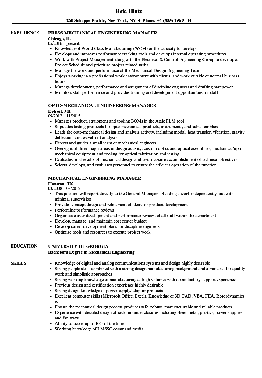 Resume Sample Of Engineering Manager Engineering Manager
