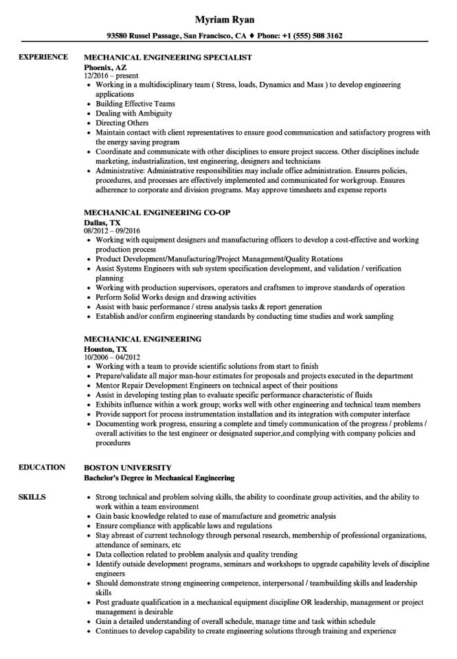 Mechanical Engineering Resume Samples
