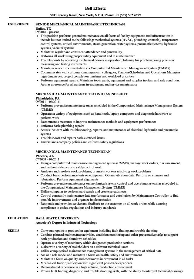 Mechanical Maintenance Technician Resume Samples  Velvet Jobs