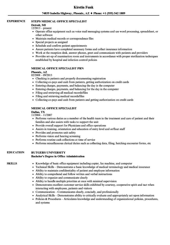 medical office specialist resume