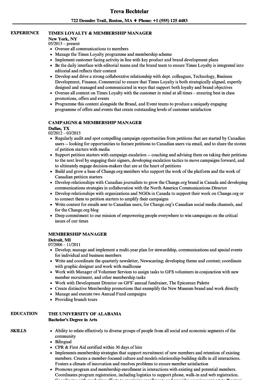 Membership Manager Resume Samples Velvet Jobs