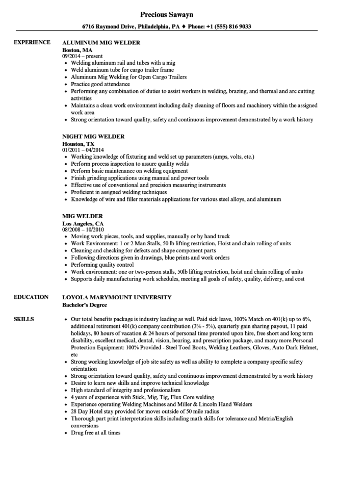 Mig Welder Resume Samples Velvet Jobs
