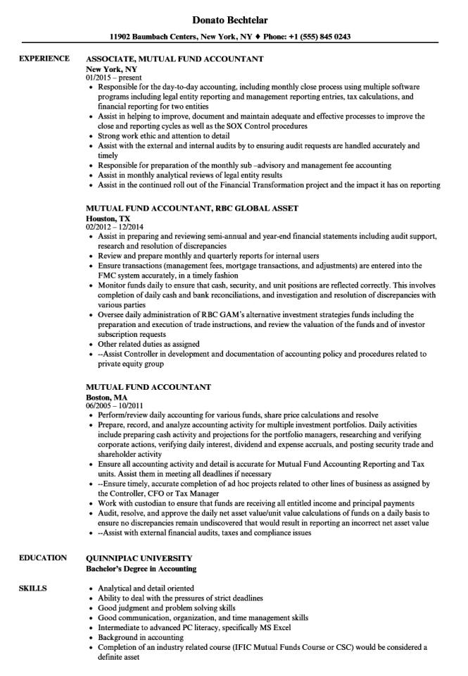 mutual fund accountant resume samples velvet jobs - Mutual Fund Accountant
