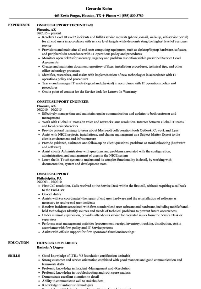Onsite Support Resume Samples  Velvet Jobs