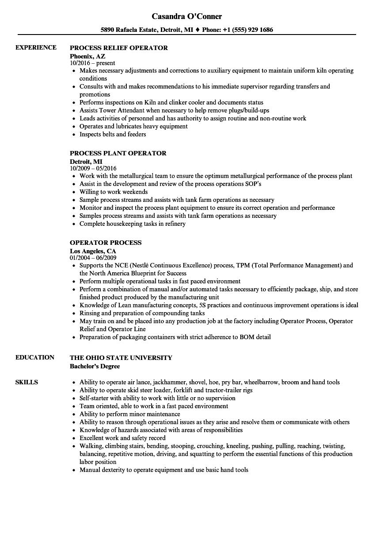 Operator Process Resume Samples Velvet Jobs