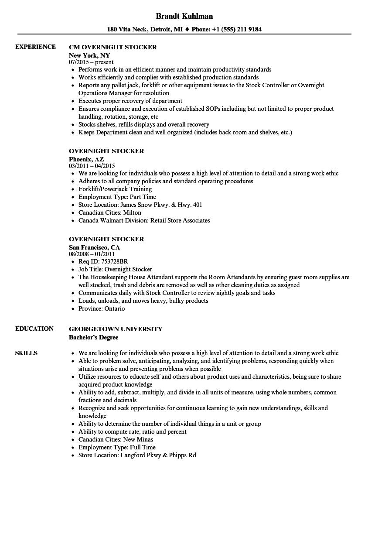 Overnight Stocker Resume Samples Velvet Jobs