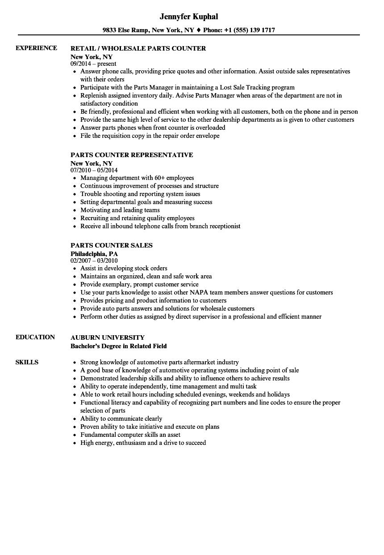Parts Counter Resume Samples Velvet Jobs