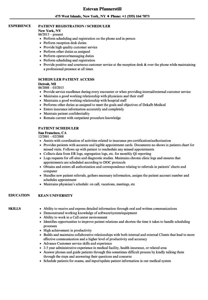 patient registration resume