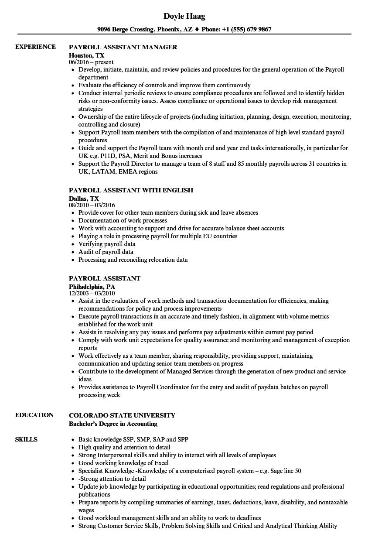 Payroll Assistant Resume Samples Velvet Jobs