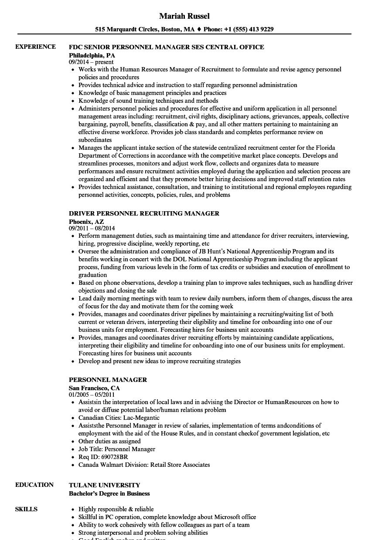 Personnel Manager Resume Samples Velvet Jobs