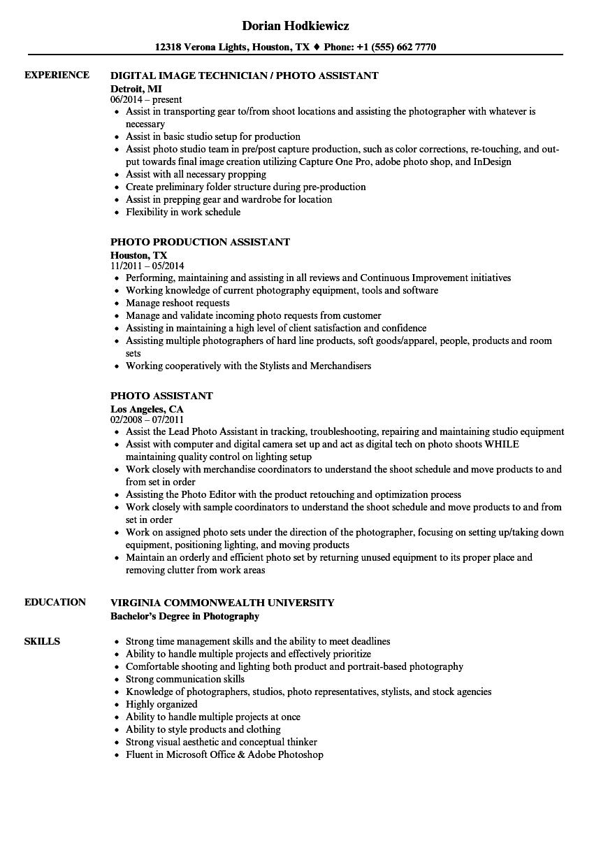 Photo Assistant Resume Samples Velvet Jobs