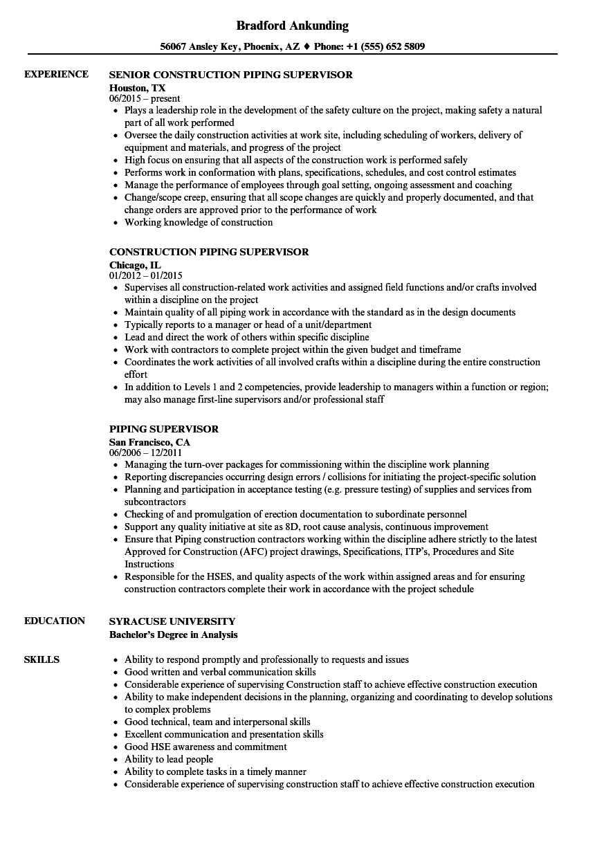 Piping Supervisor Resume Samples Velvet Jobs