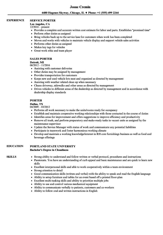 Porter Resume Samples Velvet Jobs