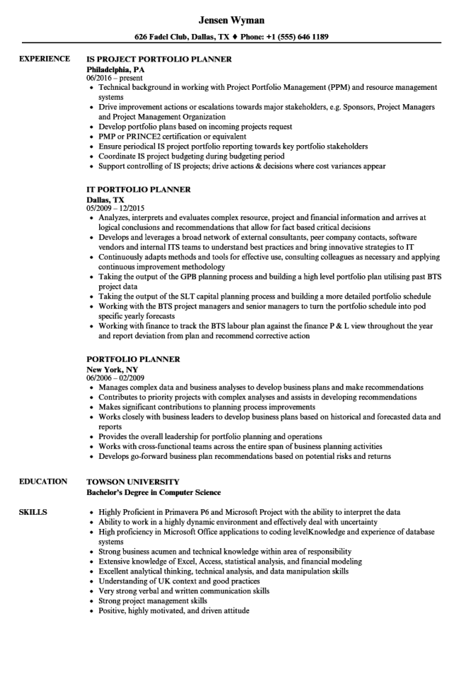 portfolio resume sample