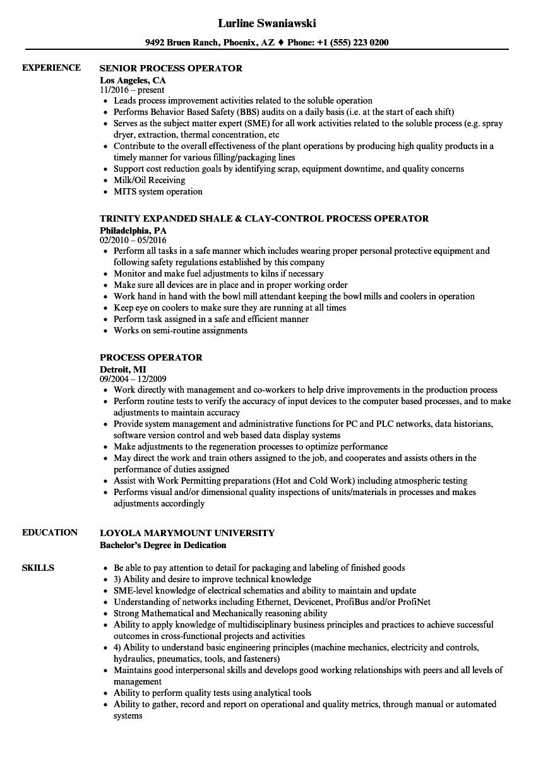 Process Operator Resume Samples Velvet Jobs