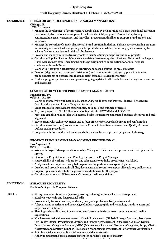 procurement manager resume samples