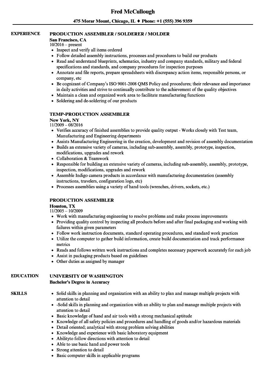 Production Assembler Resume Samples Velvet Jobs